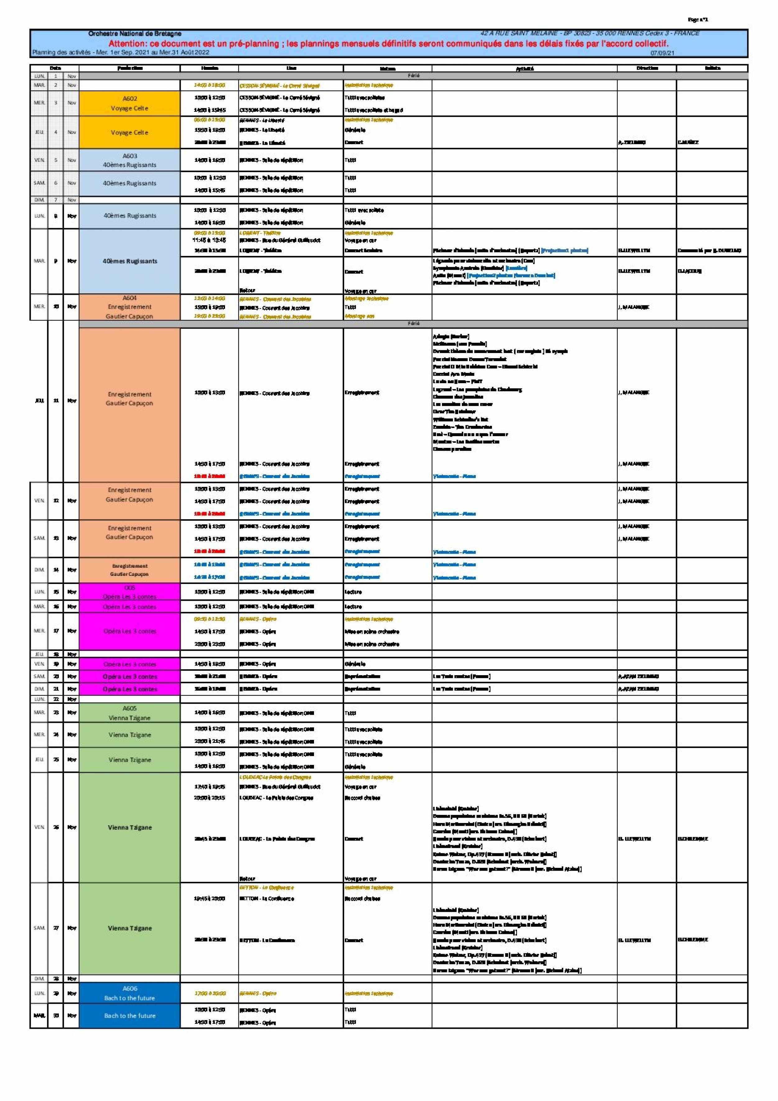 3 - Planning mensuel novembre 2021