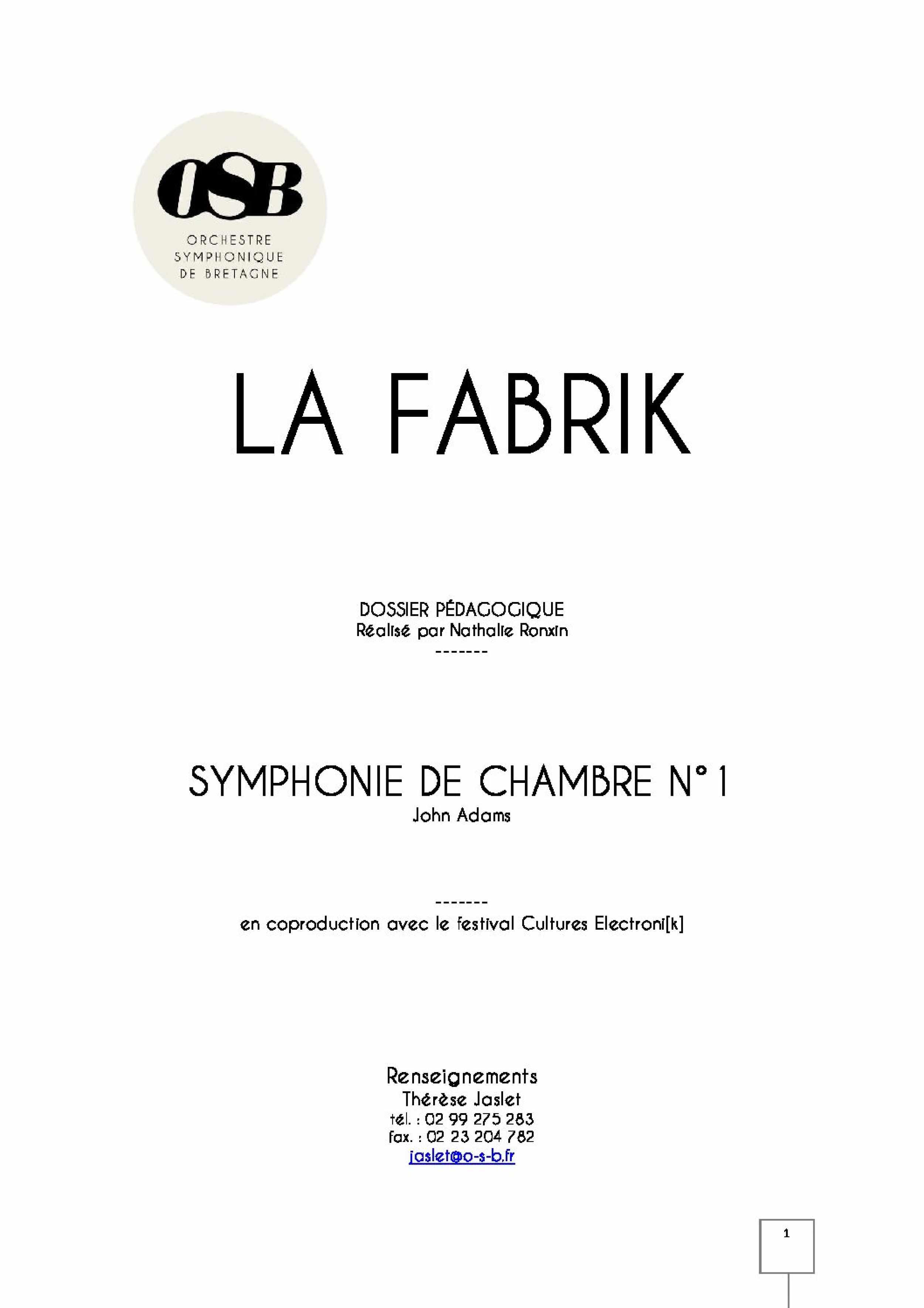 Symphonie de chambre n1 - John Adams